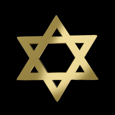 Golden Star of David on black Stock Photo - 13351925