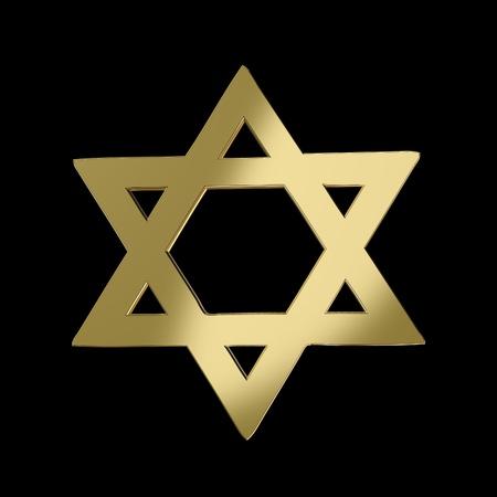 estrella de david: Oro Estrella de David sobre fondo negro Foto de archivo