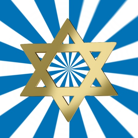 blue star background: Star of David with a starburst background Stock Photo
