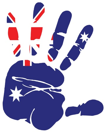 Hand print of Australia flag colors