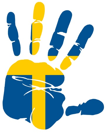Handprint of flag of Sweden Stock Vector - 13387912