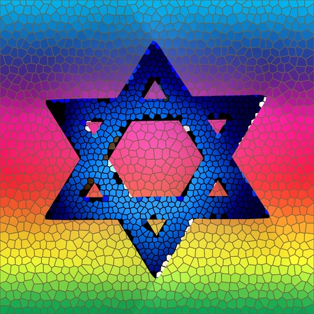 Star of david in stained glass photo