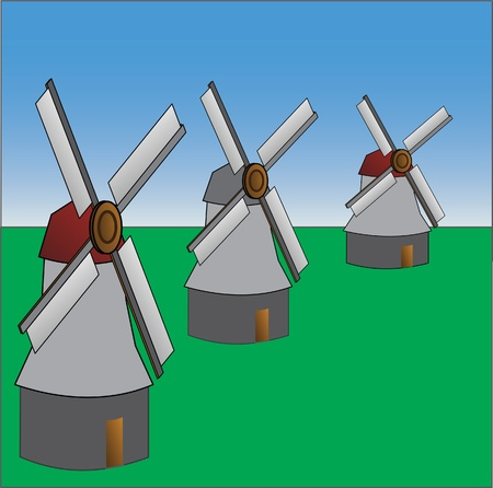 old style windmills Stock Vector - 13497237