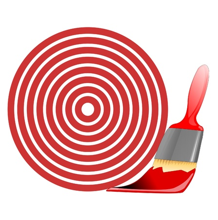 flawless: red target painted with brush Illustration