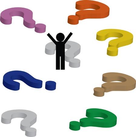 uncertain: 3d de signo de interrogaci�n Vectores