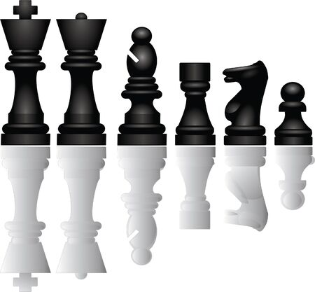 Chess pieces reflection photo