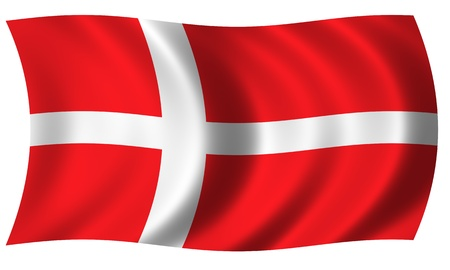 Flag of Denmark in waves Stock Photo - 13624434