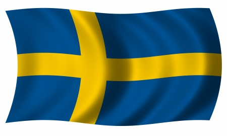 sweden flag: Flag of Sweden in waves Stock Photo