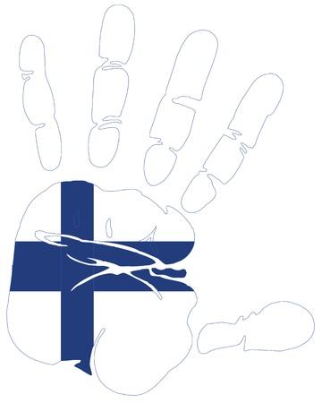 bandera de finlandia: Finlandia, bandera en mano de impresi�n