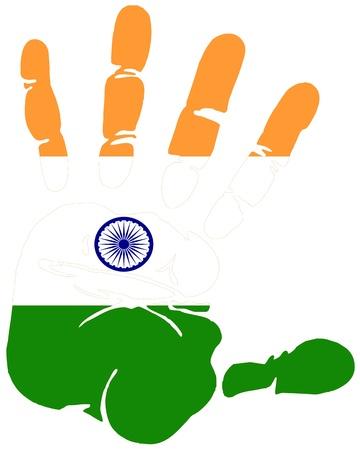 indien muster: Indien Flagge in Handabdruck