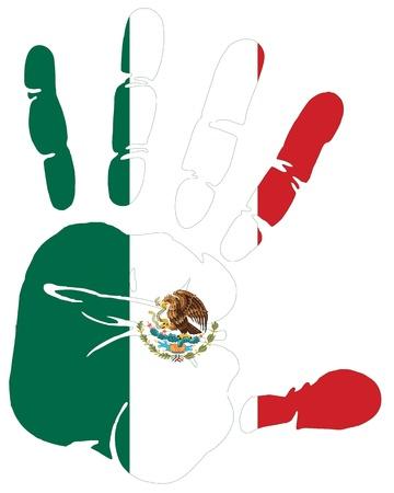 bandera mexico: M�xico en la bandera de impresi�n de la mano