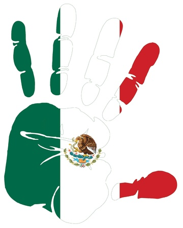 mexico beach: Mexico flag in hand print Illustration