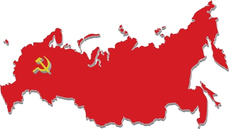 russia map: red map of old russia Illustration
