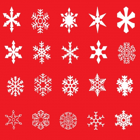 snow flake: snowflakes on red background Illustration