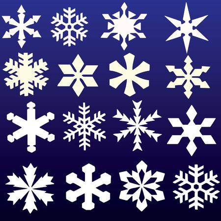 snowflakes collection on blue background Vector