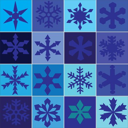 snowflakes on blue tile grid Stock Vector - 13700272