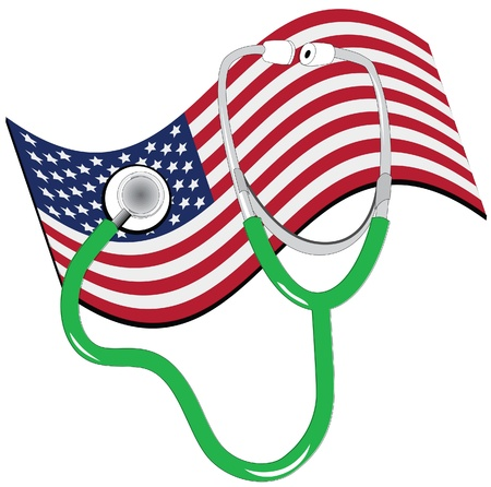 stethescope: american flag and stethescope Illustration
