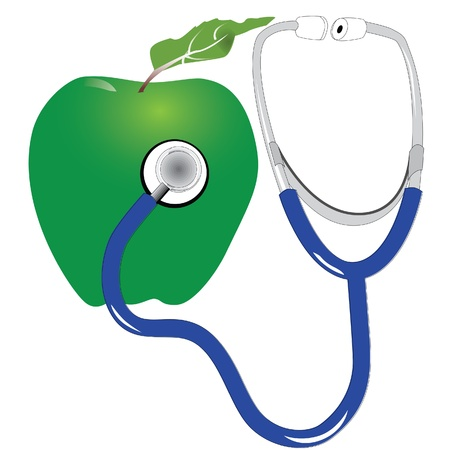 stethescope and green apple Stock Vector - 13700303