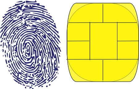 thumbprint and chip Vector