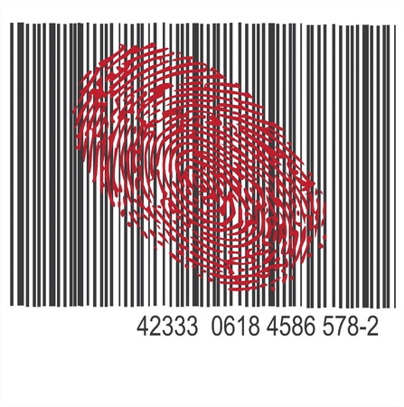 fingerprinted: thumbprint on barcode