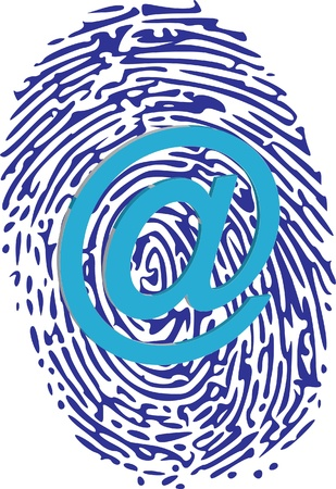 fingerprinted: at sign on thumbprint