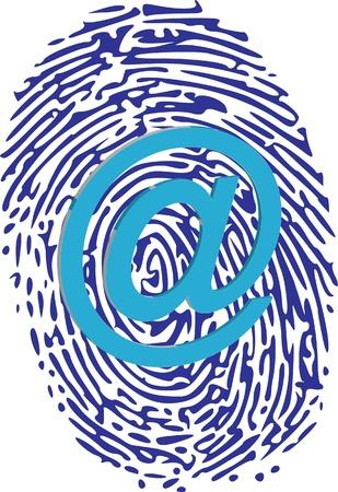 thumbprint: at sign on thumbprint