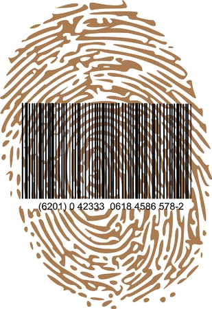 fingermark: barcode and thumbprint