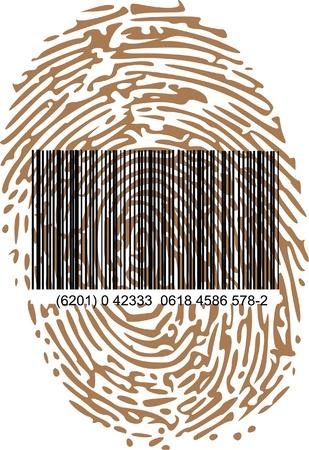 empreinte du pouce: code � barres et l'empreinte Illustration