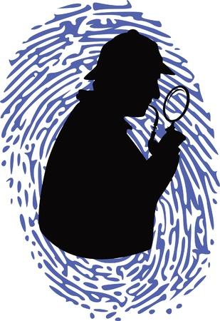dieven: detective op thumbprint Stock Illustratie