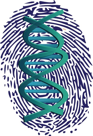 fingerprinted: dna on thumbprint Illustration