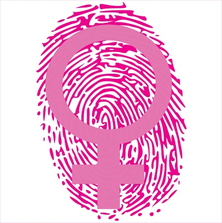 thumbprint: female sign on pink thumbprint