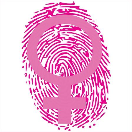 odcisk kciuka: kobieta znak na różowy odcisk palca