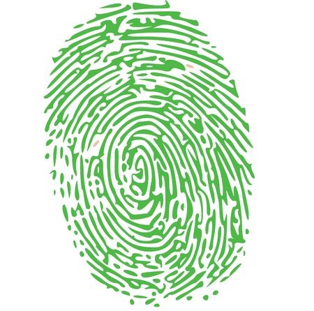 odcisk kciuka: odcisk palca na zielono Ilustracja
