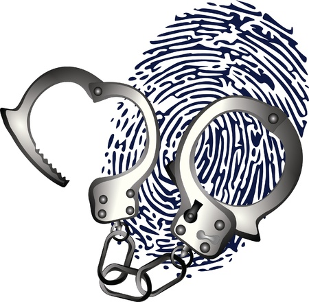 handcuffs and thumbprint Vector