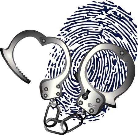 handcuffs: handcuffs and thumbprint