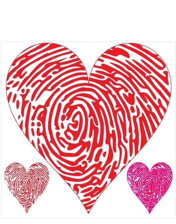 odcisk kciuka: odcisk palca na sercach Ilustracja