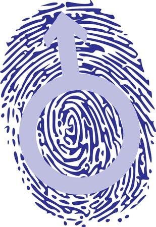 odcisk kciuka: mężczyzna znak na odciskiem palca Ilustracja