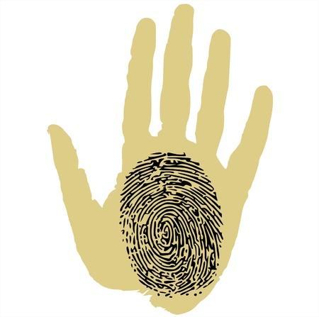 odcisk kciuka: odcisk na dłoni Ilustracja