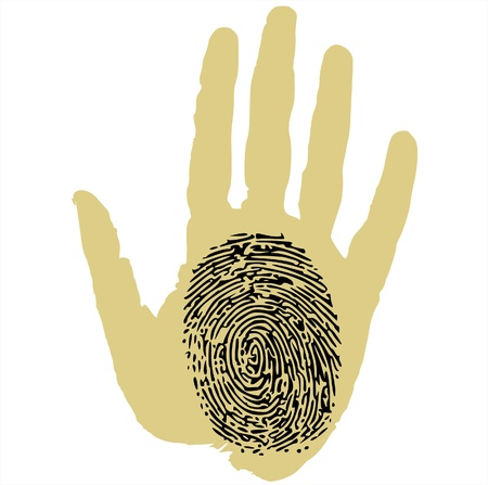 fingerprinted: thumbprint on palm