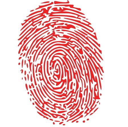 odcisk kciuka: czerwony odcisk palca Ilustracja
