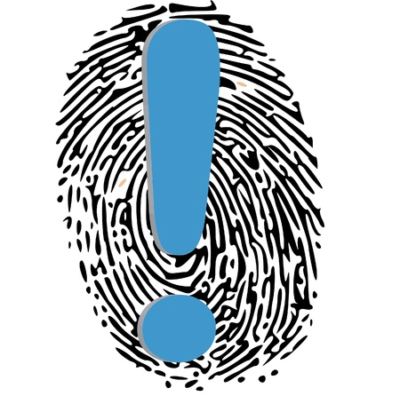 thumbprint: sign of exclamation on thumbprint Illustration