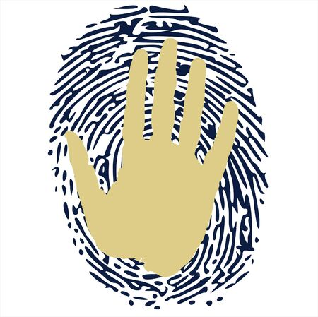 fingerprinted: hand on thumbprint Illustration