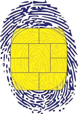 electronic chip on thumbprint Stock Vector - 13700293