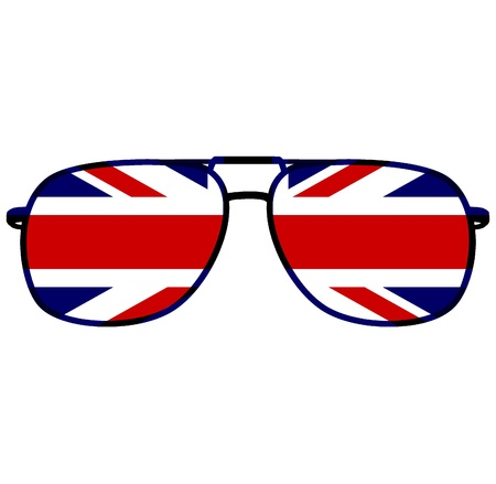 spec: glasses with flag of great britain Stock Photo