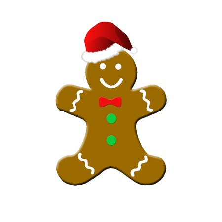 gingerbread man: gingerbread man with santa hat Stock Photo