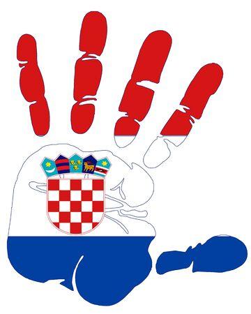 flag croatia: croacia bandera en handprint Foto de archivo