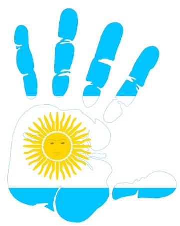 bandera argentina: bandera Argentina mano de impresión