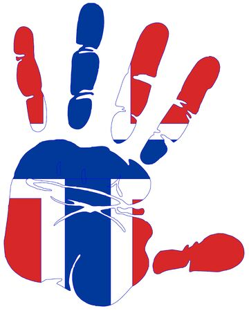fingerprinted: Flag of Norway colors and design in hand print