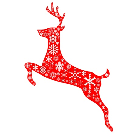 A jumping reindeer in christmas red background and white snowflakes pattern