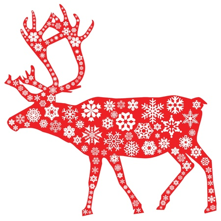 Christmas moose in red with snowflakes pattern in white Vector